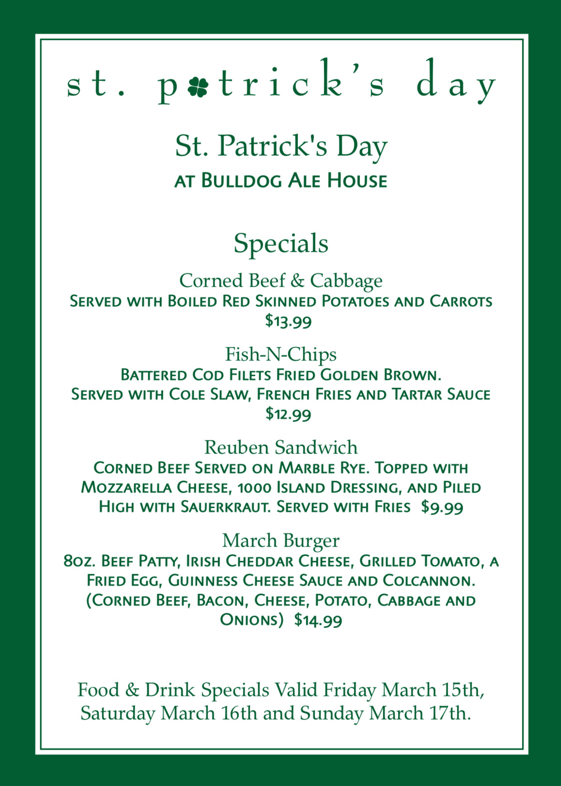 St. Patrick's Day Specials